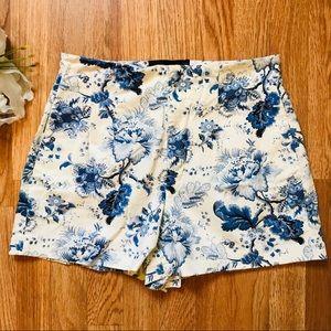 Zara-High Waisted Floral Shorts-M